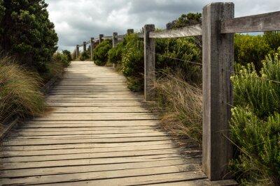 Fotomural Una pasarela de madera a lo largo de una valla con vegetación verde que crece en ambos lados bajo un cielo nublado. Esto se encuentra en algún lugar a lo largo de la gran carretera del océano en Austr