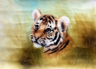 Fotomural Una pintura hermosa aerógrafo de una cabeza de tigre de bebé adorable mirando hacia fuera de un entorno de hierba verde
