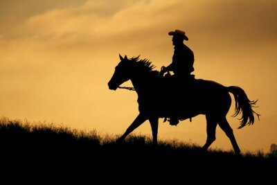 Fotomural Una silueta de un vaquero y el caballo camina hasta un prado con un cielo anaranjado y amarillo de fondo.