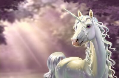 Fotomural Unicorn in the forest, close-up