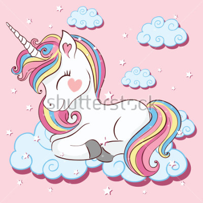 Fotomural Unicornio hermoso en las nubes con la ilustración de las estrellas, vector.