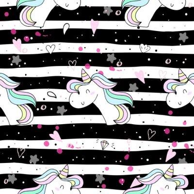 Fotomural unicornio lindo en un backgroun rosado. patrón de vectores