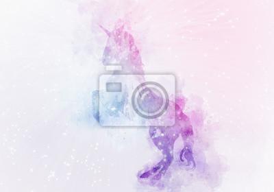 Fotomural unicornio pintura de acuarela mágica
