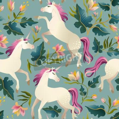 Fotomural Unicornio vintage dibujado mano en patrón inconsútil del bosque mágico. Ilustracion vectorial