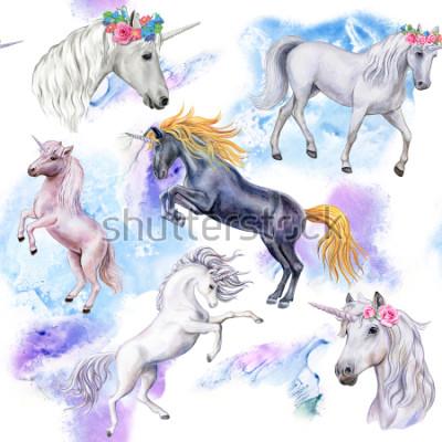 Fotomural Unicornios. Patrón sin fisuras con los caballos. Ilustración de animales. Acuarela. Modelo De cerca