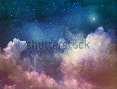 Fotomural Universo lleno de estrellas y luna. Acuarela