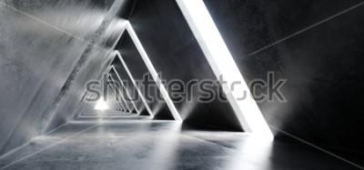 Fotomural Vacío Largo Ligero Pulido Concreto Moderno de ciencia ficción Triángulo futurista Construcción Túnel Corredor Representación 3D Ilustración