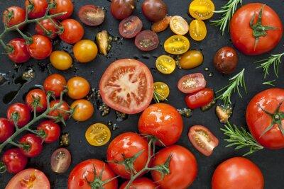 Fotomural Variedades de tomate en la vista de arriba negro