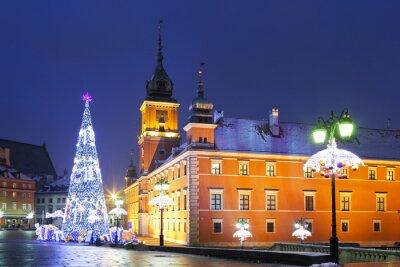 Fotomural Varsovia, la plaza del castillo en las vacaciones de Navidad