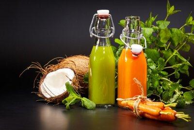 Fotomural Vasos, fresco, orgánico, vehículo, fruta, jugos, aislado