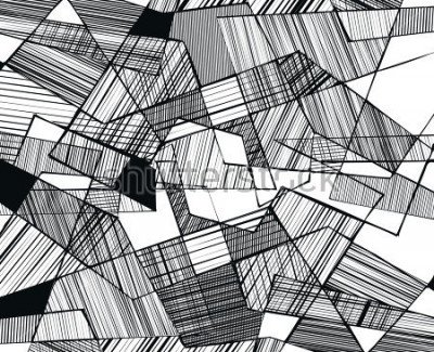Fotomural vector abstract geometric shapes with linear fill - 3