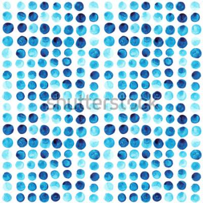 Fotomural Vector acuarela círculos de patrones sin problemas (en mosaico). Adorno de círculos dibujados a mano retro. Patrón de formas redondas. Formas redondas Adorno pintado. Formas redondas de colores de gru