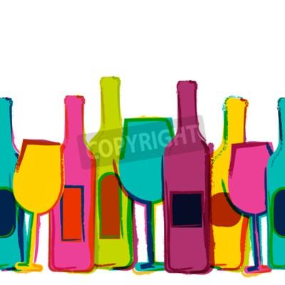 Fotomural Vector acuarela de fondo transparente, botellas de vino de colores y gafas. Concepto de menú de bar, fiesta, bebidas alcohólicas, vacaciones, lista de vinos, folleto, folleto, cartel, banner. Diseño c