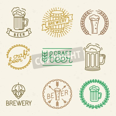 Fotomural Vector artesanía de cerveza y cerveza logos y signos en estilo lineal de moda - mono línea insignias y emblemas con texto y letras para las casas de cerveza, pubs y empresas cerveceras