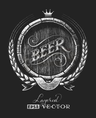 Fotomural Vector barril de cerveza dibujado en la pizarra. RGB. Un color global. Gradientes libres. Cada elemento se agrupa por separado