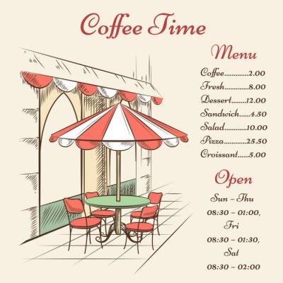 Fotomural Vector café de la calle poster