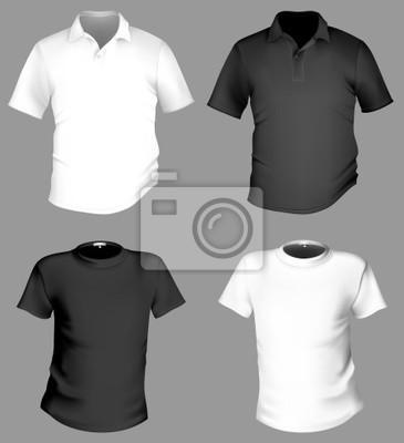 Vector. camiseta y camisa de polo de la plantilla en blanco y ... 450a6f6f202b4