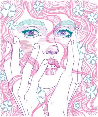 Fotomural Vector cara chica hermosa close-up cara completa con cabello rosado y delicadas flores en peinado, tiene las manos para la cara