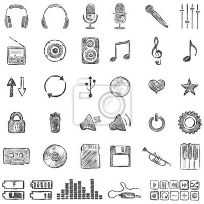 Vector Conjunto De Dibujo Música Iconos Fotomural Fotomurales