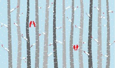 Fotomural Vector de abedul o Árboles de Aspen con la nieve y los pájaros del amor