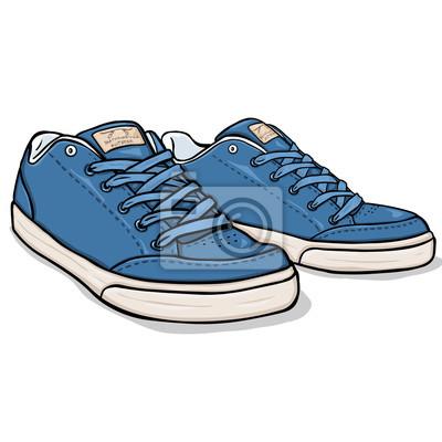 Zapatos FotomuralVector Azul Patinadores De Dibujos Animados wPkOuTXZi