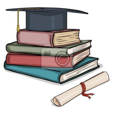 Fotomural Vector de dibujos animados sombrero académico en la pila de  libros y diploma 476f0e23578