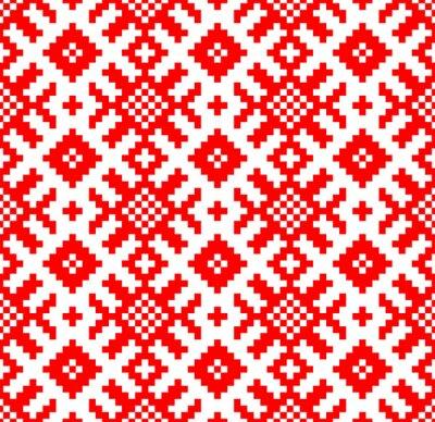 Fotomural Vector de fondo. Patrón sin fisuras bordado eslavo. Yarilo motive - Imagen vectorial
