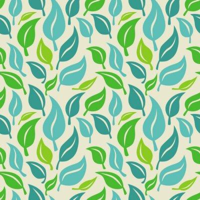 Fotomural Vector de fondo sin fisuras con las hojas verdes y azules