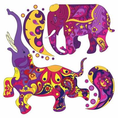 Fotomural Vector decorado elefante indio