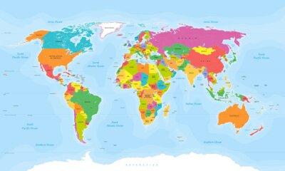 Fotomural Vector del mapa del mundo. Etiquetas de inglés / EE.UU