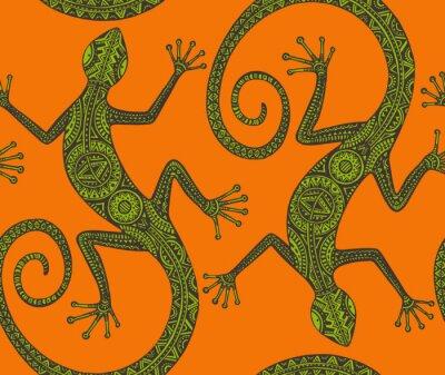 Fotomural Vector dibujado a mano sin patrón con monocromo lagarto o sal