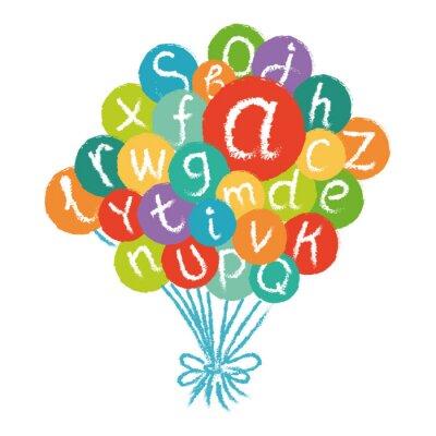 Fotomural Vector divertido alfabeto inglés. Dibujado a mano tiza como letras en círculos de colores.