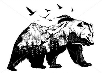 Fotomural Vector Double exposure, bear for your design, wildlife concept