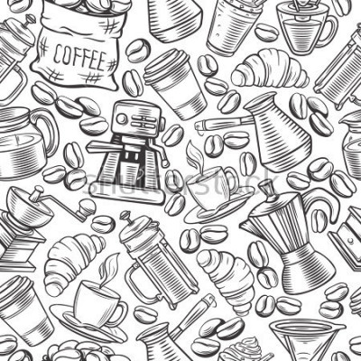 Fotomural Vector el diseño de bebidas del café del modelo con las tazas del bosquejo, bebidas calientes, prensa francesa, cervecero para el café del menú.