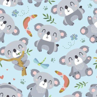 Fotomural Vector estilo de dibujos animados koala patrón transparente