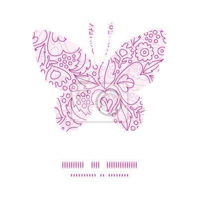 Vector flores de color rosa mariposa línea marco modelo silueta ...
