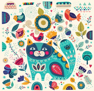 Fotomural Vector ilustración colorida con hermoso gato, mariposas, aves y flores