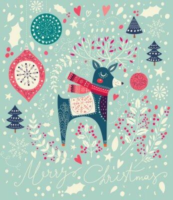 Fotomural Vector ilustración de Navidad con venado adorable