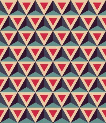 Fotomural Vector moderno patrón de geometría de colores sin fisuras, triángulos 3D, color azul rojo, fondo geométrico abstracto, moderno multicolor impresión, textura retro, hipster diseño de moda