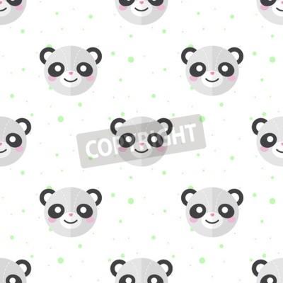 Fotomural Vector panda de dibujos animados plano divertido patrón de las cabezas sin fisuras. Panda de fondo.