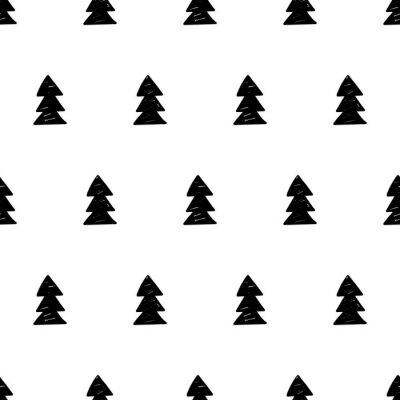 Fotomural Vector patrón de Navidad con árboles de Navidad. Estilo escandinavo