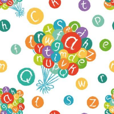 Fotomural Vector patrón transparente - alfabeto Inglés divertido. Dibujado a mano tiza como letras en círculos de colores.
