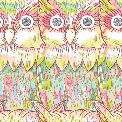 Fotomural Vector patrón transparente de búho. Fondo abstracto lindo del pájaro.