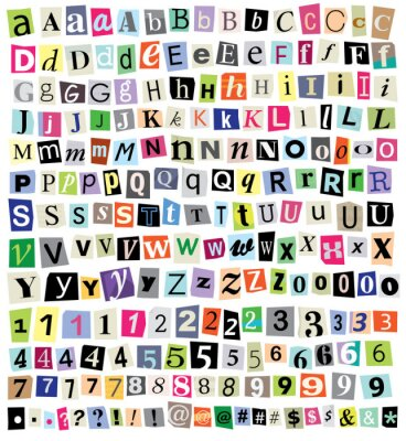 Fotomural Vector Ransom Note-Cut Paper letras, números, símbolos