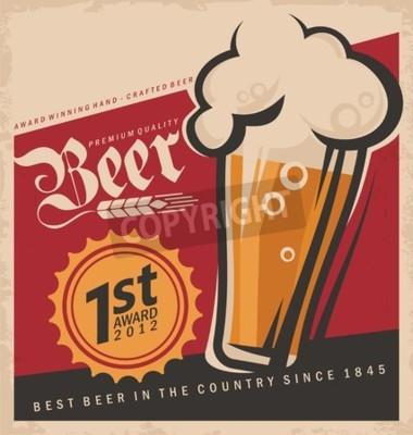 Fotomural Vector retro de la cerveza poster