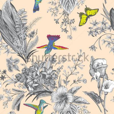 Fotomural Vector sin patrón patrón floral de la vendimia. Flores y pájaros exóticos. Ilustración clásica botánica. Vistoso