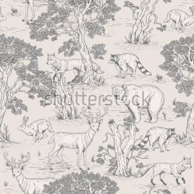 Fotomural vector vintage de patrones sin fisuras de bosque ilustrado de animales salvajes en el bosque