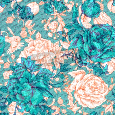 Fotomural Vector vintage pattern with roses and peonies. Retro floral wallpaper, colorful backdrop