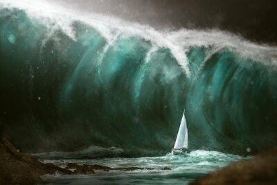 Fotomural Velero frente a un tsunami