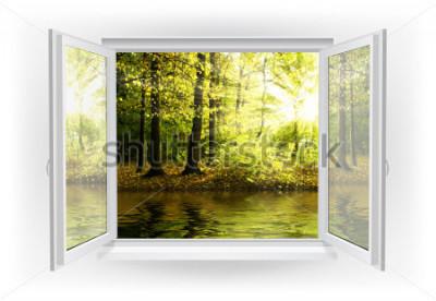 Fotomural Ventana abierta con bosque sobre un fondo.